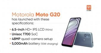 Moto G20 Dipasarkan dengan bekal Baterai 5000mAh